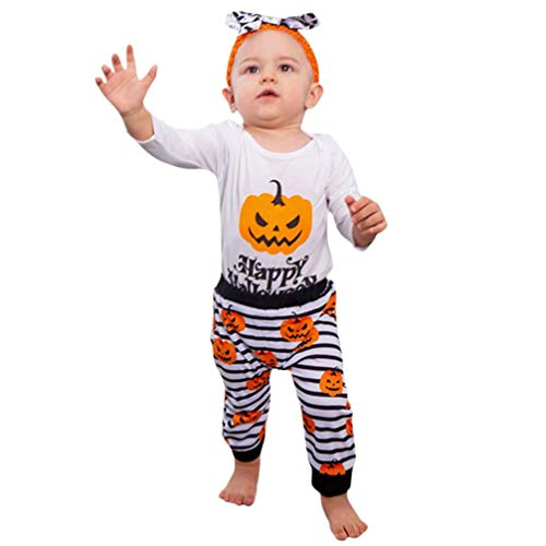 JOFOW Halloween Baby Boys Girls Romper Infant Pant Set,Toddle Clothes Set Cartoon Pumpkin Letters Striped Newborn Jumpsuit (80cm,White) -