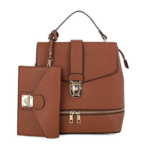 Fashion Casual Faux Leather Shoulder Bag Mini Backpack School Bag for Women 2pc | Tan