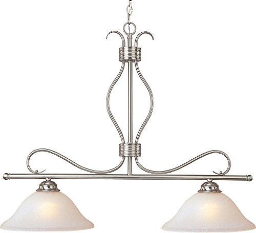 - Maxim 10126ICSN Basix 2-Light Pendant, Satin Nickel Finish, Ice Glass, MB Incandescent Incandescent Bulb , 40W Max., Dry Safety Rating, Standard Dimmable, Linen/Silver Leaf Fa Shade Material, 3600 Rated Lumens