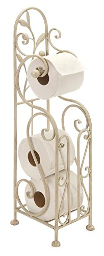 Deco 79 Metal Toilet Paper Holder, 24 by 8-Inch, White ()