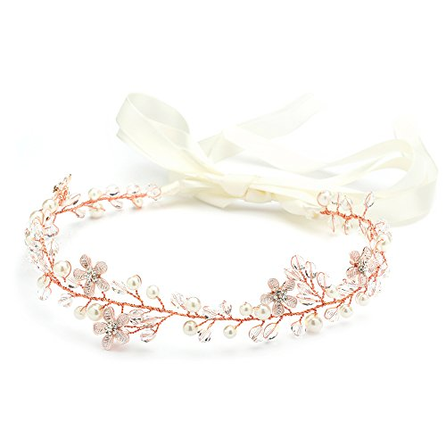 Pink Ribbon Double Crystals - Mariell Crystal Rose Gold Bridal Wedding Headband Vine - Flowers, Ivory Pearls & Ribbon
