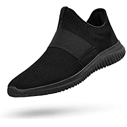 QANSI Men Gym Shoes Slip-on Sneakers Lightweight Running Walking Shoes Black 7.5