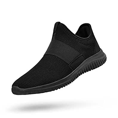 QANSI Mens Sneakers Slip-on Lightweight Athletic Running Walking Gym Shoes Black Size: 6.5