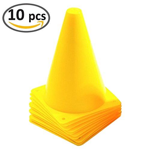 7 Inch Yellow Plastic Sport Traffic Cones - 10 Pack Yellow Sports Practice Equipment
