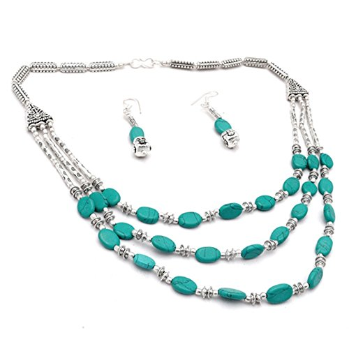 Tribal! Handmade Jewelry! Blue Turquoise Beads Sterling Silver Overlay Necklace with Earring ()