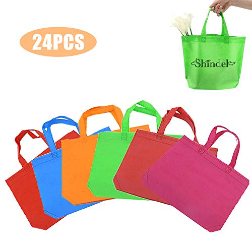 Cheap 24 Pack 13 Tote Gift Bags One Side Blank Non-woven Bags Colored Treat Bags