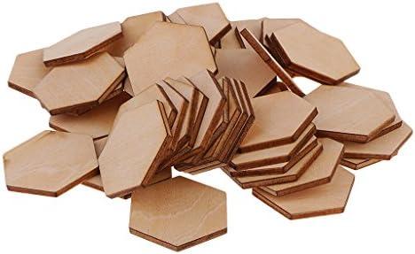 木片 六角 木製タグ クラフト 装飾 未完成 DIY工芸品 アクセサリーパーツ 全11サイズ - 100ピース30ミリメートル