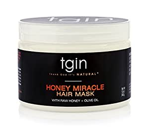 tgin Honey Miracle Hair Mask (12oz), Deep Conditioner for Natural Hair with Raw Honey & Olive Oil