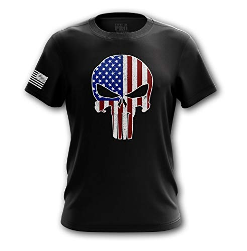 Tactical Pro Supply American Flag Military Army Mens T Shirt (Punisher USA, Large)
