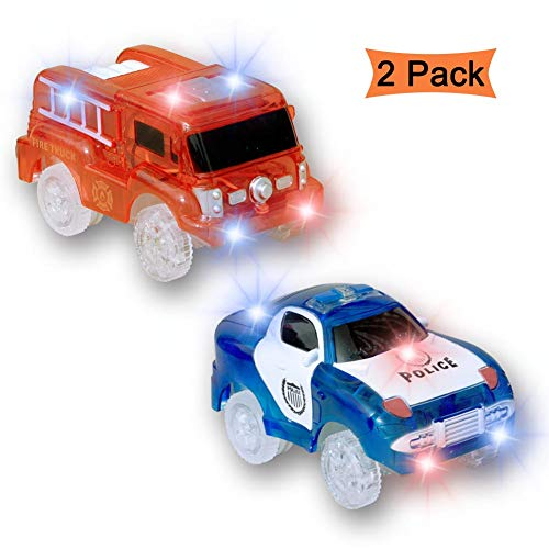 Track Cars,Flashing Light Up Police Car Toy and Fire Truck Toys Glow in The Dark,Compatible with Most Tracks,City Action Toys Rescue Police and Fireman Pack of 2(Red+Blue)