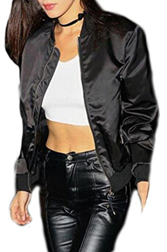 Women 's Long Sleeve Stand Cuello Cremallera Chaqueta Black