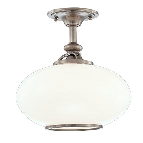Hudson Valley Lighting Canton 1-Light Semi Flush - Old Nickel Finish with Opal Glossy Glass Shade - Hudson Valley Ceiling Fan