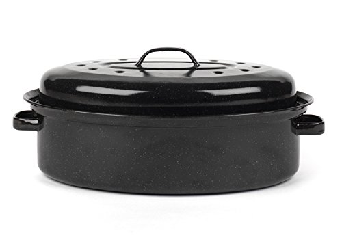 (Swan 36 cm Vitreous Enamel Self Basting Roaster with Lid)