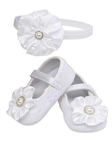 Petals White Lace Baptism Christening Shoe and Headband Set for Baby Girl Size 2