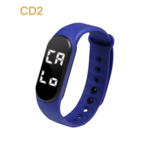 Sunshinehomely Fashion Silicone Smart Watch Sports Wristband Health Bracelet Fitness Tracker Pedometer Watch (navy)