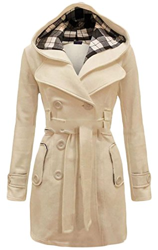 Pivaconis Womens Classic Double-Breasted Belted Hood Lapel Outwear Peacoat Beige S