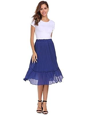 Zeagoo Women Summer Chiffon High Waist Pleated Big Hem Full/Ankle Length Beach Midi Skirt