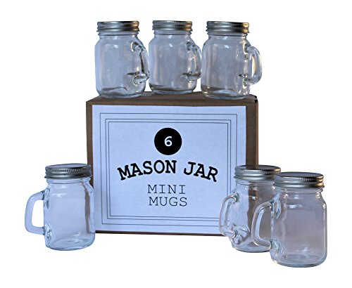 Mason Jar 4 Ounce Mugs - Set of 6 Glasses With Handles And Leak-Proof Lids - Great For Gifts, Drinks, Favors, Candles And Crafts