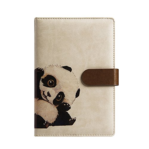 Panda Notepad - ToiM A6 Cute Simple Binder Hand Books for Diary PU Leather Journal Writing Notebook Loose Notebook Handbook Notepad Business Hand Books Great Stationery (Panda)