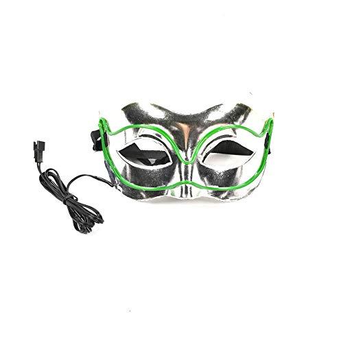 Neon Nightlife Men's Light up Mask(7.093.153.15in/Power Switch Button-Dark Green) -