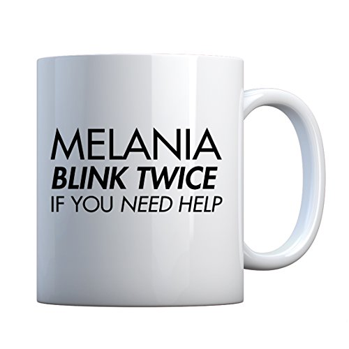 Mug Melania Blink Twice if You Need Help! Large Pearl White Gift Mug