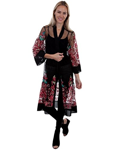 Scully Women's Honey Creek by Mesh Multi Color Embroidered Duster Black ()