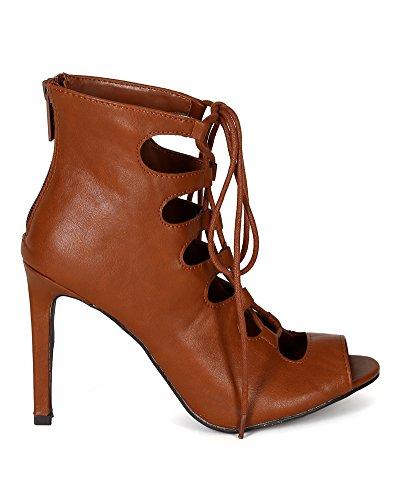 BE39 Mid Caged Stiletto Sandal Heel Women Tan Peep Toe Breckelles Leatherette axFqOzz