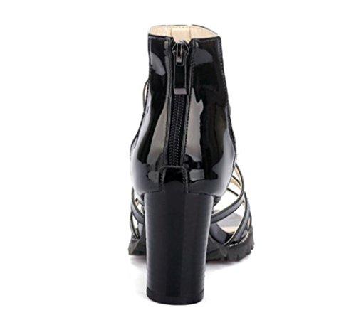 Cremallera De 34 Trasero Sandalias Black suela 38 Antideslizante Alta sandalias Con Romanas Mujer Cierre acabado 40 Xie 8cm Blanco Pintura 42 BAPq5wq