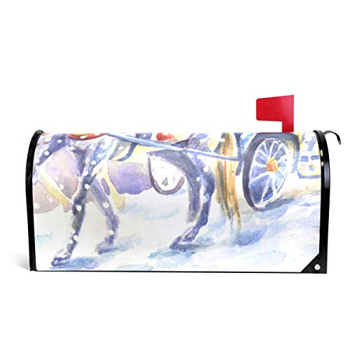 LORVIES Santa Claus with Horse Magnetic Mailbox Cover Oversized 25.5 x 18 Inch