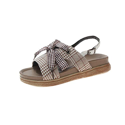 Benficial Women Summer Sandals Butterfly-Knot Wedges Round Toe Casual Shoes Khaki