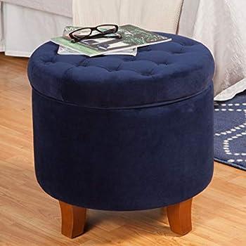 Amazon Com Dark Navy Blue Ottoman Round With Legs This