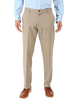 Men's Men's Signature Khaki Athletic Flat Front Stretch Timber Wolf Pants