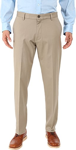 Dockers Men's Men's Signature Khaki Athletic Flat Front Stretch Timber Wolf (Signature Stretch Twill Pants)