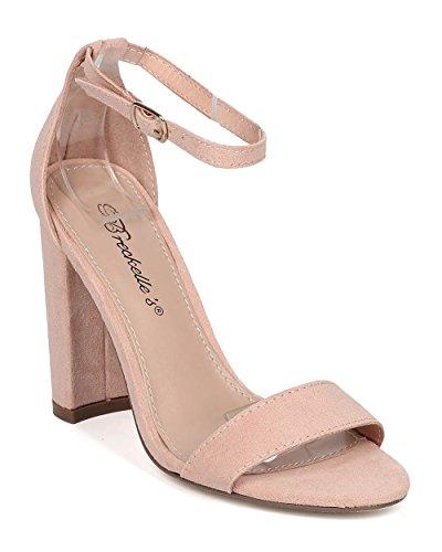 Ankle Sandal Formal Strap Wedding Blush by Dressy Breckelles Heel Women Chunky GG67 Versatile Heel tFF4g8