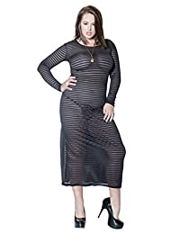 Full Figure Plus Size Striped Stretch Knit Long Sleeve Gown