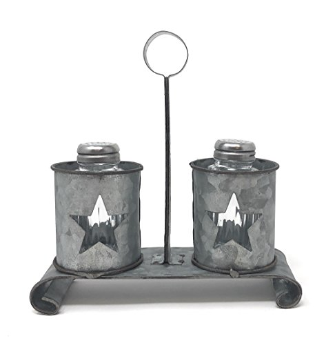 Western Star Galvanized Kitchen Decor Salt and Pepper Shaker Set in Vintage Rustic Look
