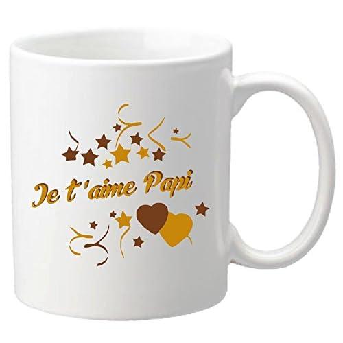 Mug Je t'aime Papi - Cadeau pour la fête des Grands Pères, Noël, Anniversaire, Pâques, Baptême (Papy)