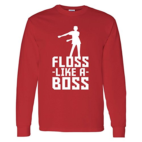 (Floss Like A Boss - Flossin Dance Funny Emote Adult Long Sleeve T Shirt - Medium - Red)