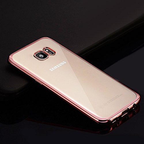 Funda Galaxy S7Edge, Galaxy S7Edge Carcasa de TPU, Funda Galaxy S7Edge, ikasus bañado en transparente silicona suave TPU Bumper–Funda protectora de goma para Samsung Galaxy S7Edge plata oro rosa