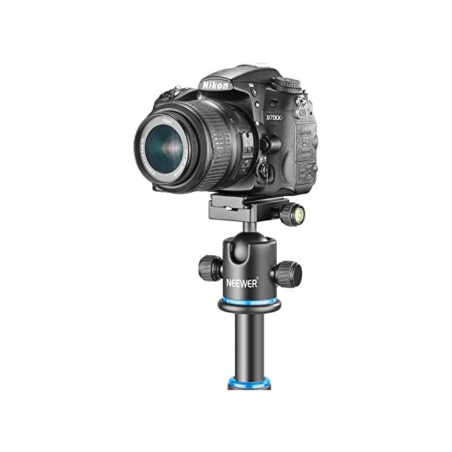 Neewer Pro Metal Tripod Ball Head 360 Degree Rotating Panoramic with 1/4 inch Quick Shoe Plate  Bubble Level for Tripod Monopod Slider DSLR Camera Camcorder up to 17.6 pounds/8 kilograms (Black+Blue)