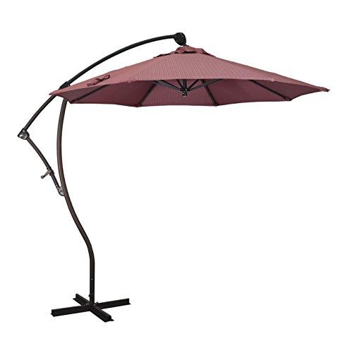 California Umbrella 9' Round Aluminum Cantilever Umbrella, Crank Lift, 360 Rotation, Bronze Pole, Terrace Adobe Olefin