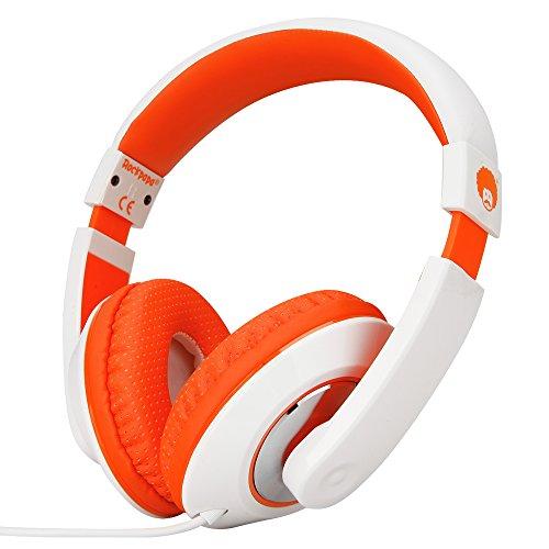 rockpapa 782 DJ Style Stereo Headphones Adjustable Headband 3.5mm for Cellphones iPod Ipad iPhone Laptop Computer Mp3/4 Tablets Earphones (White/Orange) ()