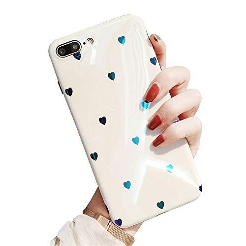 - BONTOUJOUR iPhone 7 Plus/iPhone 8 Plus Phone Case, Beautiful Art Polka Dot Flower Little Heart Pattern Serie Cover Case Soft TPU 360 Degree Good Protection- White Little Heart