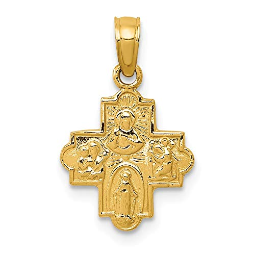 Real 14kt Yellow Gold Miniature Four Way Medal Pendant