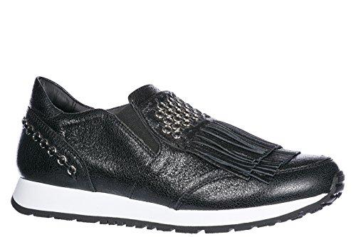 Slip Women's Tod's Black Sportivo yo Leather on Sneakers Epqxzqd