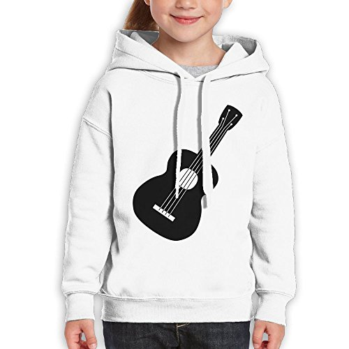 Cooby Roman Teenagers Guitar Cool Logo Hooded Customized Pattern Novelty Long Sleeve Pullover Large White (Halloween Song In French Lyrics)