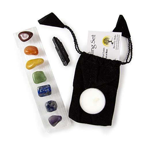Beverly Oaks 10 pc Chakra Crystal Healing Kit: Large Selenite Bar, 7 Chakra Natural Polished Tumbled Stones in Black Velvet Bag with Chakra Information Card, Black Tourmaline Specimen, Votive, COA ()