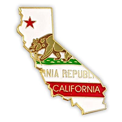 PinMart's State Shape of California and California Flag Lapel Pin