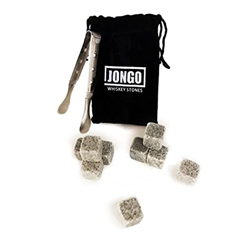 Whiskey Chilling Stones Gift Set of 10   For Irish Scotch, Jack Daniels & Other Beverages   Ice Rocks - Stainless Steel Tongs - Velvet Pouch - Groomsmen Gifts for Wedding - Drink Cubes