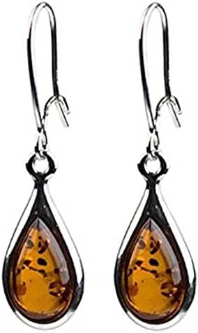 Amber Sterling Silver 925 Small Tiny Teardrop Earrings